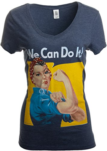 Rosie The Riveter, We Can Do It | Feminist Rosey Rosy V-Neck T-Shirt for Women-(Vneck,L) Vintage Navy for $<!--$13.95-->
