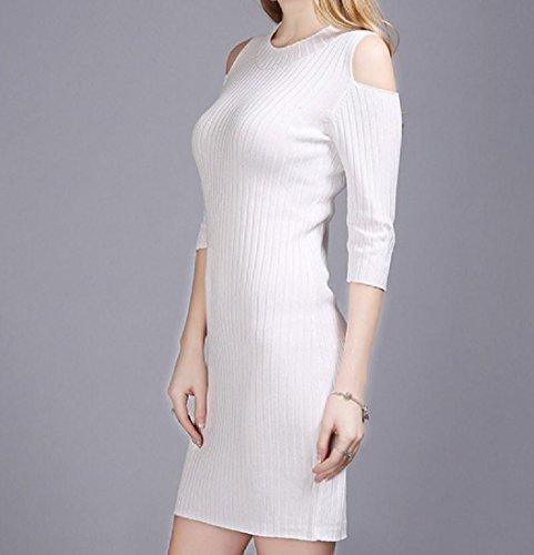 Coolred-femmes Tricot Surdimensionné Épaule Froid Robe Solide Longueur Mi Blanc