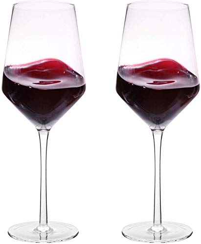 Bella Vino Italian Red Wine Glasses 15.5 Ounce 9.1'', Laser Cut Rim For Wine Tasting, Lead-Free Cups, Elegant Drinking Glassware, Dishwasher Safe, White or Red Wine Glass Set of 2 from Bella Vino
