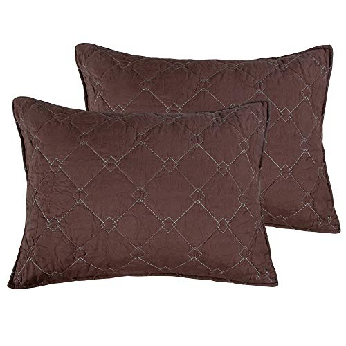 ALCSHOME Standard Quilted Pillowcases, Set of 2, 100% Brushed Microfiber, Super soft and Warm, Standard, Coffee