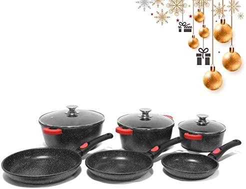 Jonas Batería de Cocina 18 Piezas - 3 Cacerolas con Tapas (20/24/28 cm) + 3 Sartenes (16/18/20 cm) con Revestimiento Piedra sin PFOA Antiadherente – ...