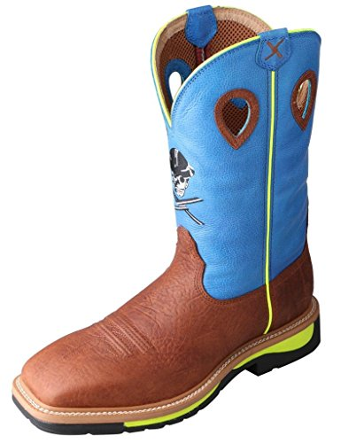 Twisted X Men's Neon Blue Lite Cowboy Work Boot Steel Toe Brown 13 EE US