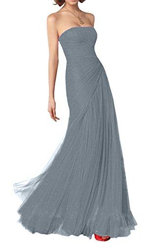 Silber Neu Brautjungfernkleider Partykleider La Marie Glamour Silber aus Traegerlos Braut Abendkleider Tuell 1PgqFT