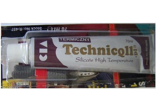 Technicqll High Temperature 1200'C Adhesive Glue For Exhaust Fireplace Ovens Collectors 70 Ml