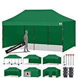 ABCCANOPY Deluxe 10x20 Pop up Canopy Outdoor Party Tent Commercial Gazebo with Enclosure Walls and Wheeled Carry Bag Bonus 6X Weight Bag and 2X Half Walls and 1x Screen Wall (Forest Green)
