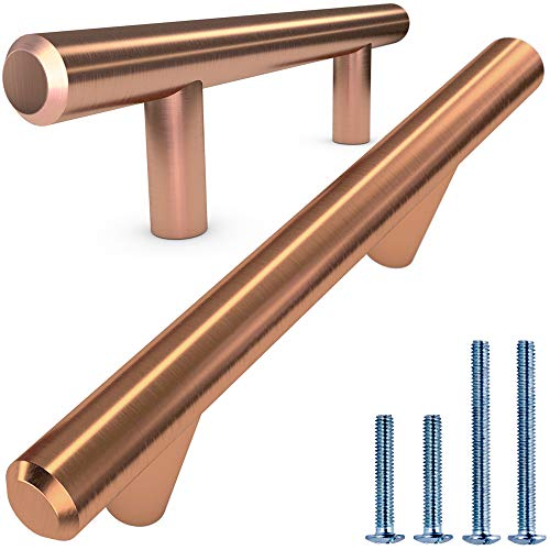 Alpine Hardware | 25Pack ~ 3 (76mm) Hole Center | Fine-Brushed Satin Copper/Bronze Finish | Solid Steel Bar Handle Pull | Kitchen Cabinet Hardware/Dresser Drawer Handles