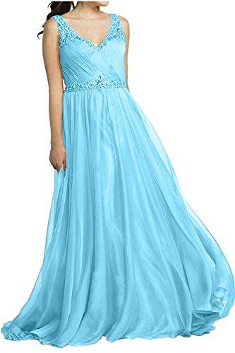 Brau Ausschnitt Partykleider V Abendkleider Langes Ballkleider Kleider mia Blau La Brautmutterkleider Jugendweihe Formal gOwqpUU