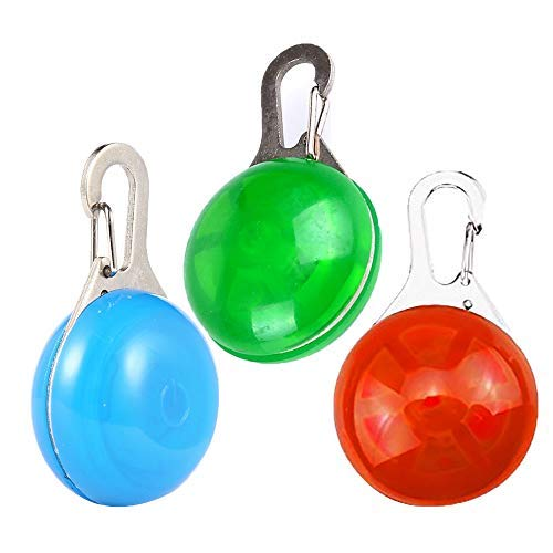 Pet LED Collar Dog Gift Cat ID Tags Safety Night Walking Lights Keychain with Stainless Steel Carabiner Light Up Dog Collar with 3 Flashing Modes Battery Included (3pcs) (RGB)