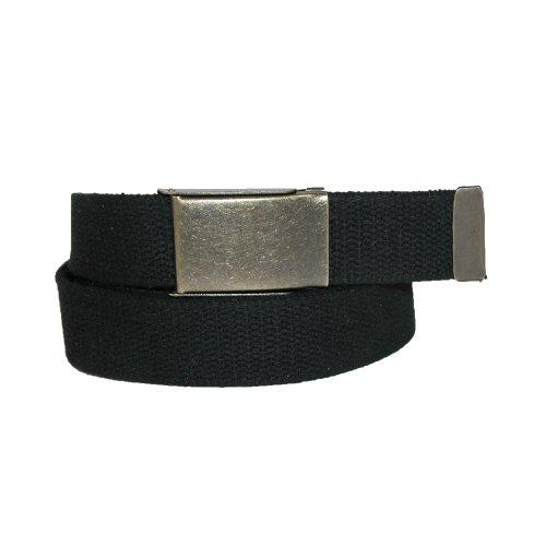 CTM Men's Big & Tall Fabric Belt with Brass Flip Top Buckle, Black (Big Brass Buckle)