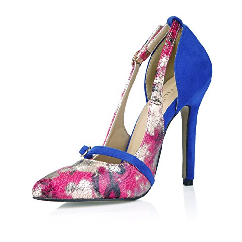 DolphinBanana Dress Pumps Slim Fit Floral Printed Bridal Women Fashion Stiletto Dolphin Lady Colorful Shoes Prime Printed +Blue+pink HM81TwbO