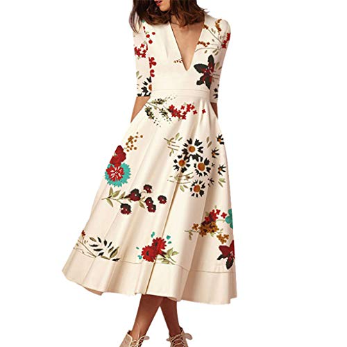 Cool1980s Women's Flower Print Elegant Cocktail Maxi Dress Deep V Neck 3/4 Sleeve Vintage Pleated Dress Elegant Club Dress (White, XXL) ()