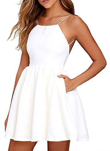 FANCYINN Women Sexy Backless Spaghetti Strap Floral Print Short Mini Casual Dress White L