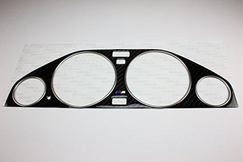 (Carbon Cluster Dashboard Dial Gauge Bezel Trim & Chrome Rings FOR 82-94 BMW E30)