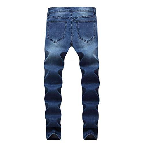 Motociclista Slim Strappati Da Allenamento Ragazzi Jeans Rt Classiche Uomo Elasticizzati Pantaloni Tape Deepblue Aderenti Mitlfuny xP0HBn4Z