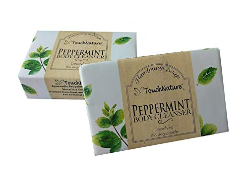 Touch Nature Handmade Soap, 2 pc 100g Peppermint Natural Bar & Castile Soap. Essential Oil Natural Soap. Free of Sulphates and Parabens. Cooling, Refreshing, Natural Anti-Septic, Perfect Gift for Men