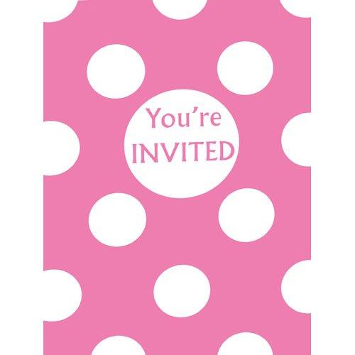 Hot Pink Polka Dot Invitations, -