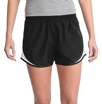 Sport-Tek Women's Elastic Waistband Cadence Short_Black/White/Black_X-Small