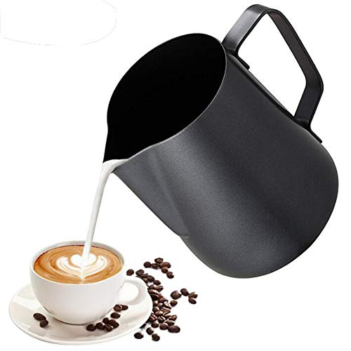 1000ml Milk Pitcher, Non-stick Stainless Steel Milk Frothing Jug, Milk Frothing Pitcher,Barista Coffee Cup, Espresso Coffee Pitcher,Cream Milk Jug for Making Latte Coffee Art - Black