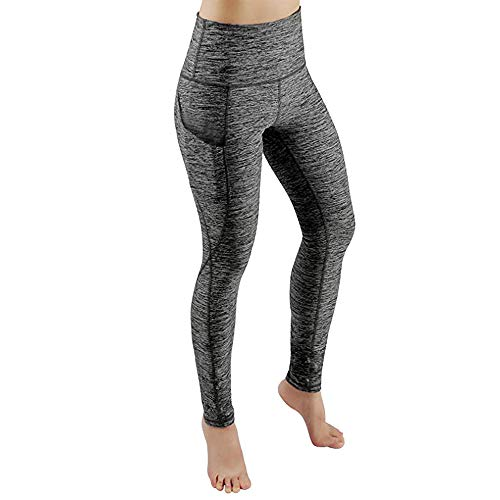 Cithy Women's Sports Gym Yoga Running Fitness Leggings Pants Yoga with Pocket (XL, Gray)