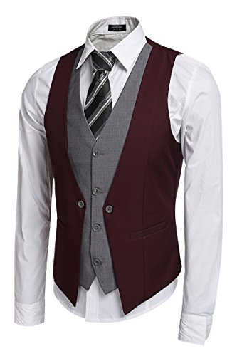 Coofandy Men's V-neck Sleeveless Slim Fit Jacket Business Suit Vests Wine Red Small from Zeagoo