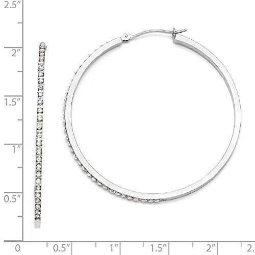 14k White Gold Diamond Large Round 1mm Hoop Earrings w/ Gift Box/Diameter- 50mm (Color H-I, Clarity (14k Gold Large Diamond)