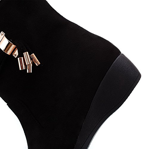 Toe with Boots US AmoonyFashion Imitated M Womens Round 5 6 Suede Solid B Wedge Heels Closed Low PU Frosted Black t7F1Pq7wxS
