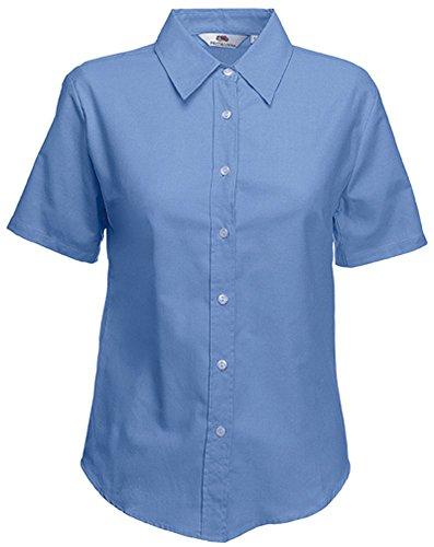 Fruit of the Loom SC65000 OXFORD-Camisa de manga corta para mujer Azul