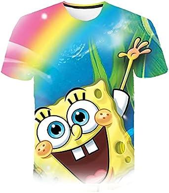 3D Esponja Familia Divertido Amarillo Bob T-Shirt Luz Del Sol Niños Impresión Camiseta Ropa Deportiva Niñas Dibujos Animados Bebé Ropa Casual