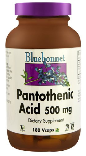 Bluebonnet Nutrition Pantothenic Acid -- 500 mg - 180 Vcaps® - 3PC by Blue Bonnet