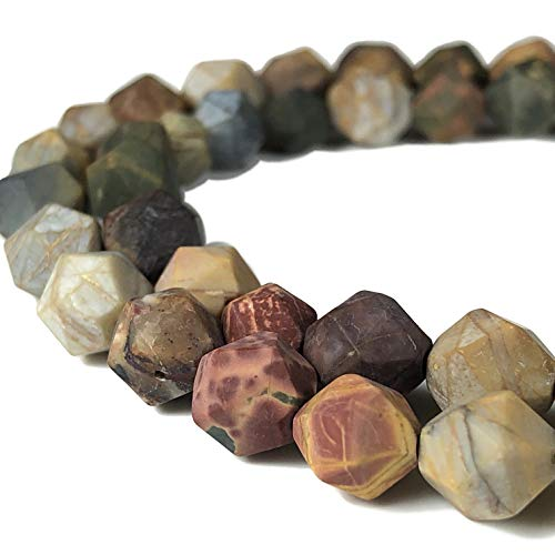 [ABCgems] Matte African Cherry Creek Jasper AKA Red Creek Jasper (Exquisite Matrix) 8mm Precision-Star-Cut Beads for Beading & Jewelry ()