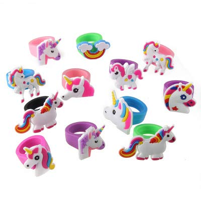 Party Favors - 10pcs Unicorn Ring Child Toy Rings Party Favor Birthday Decorations Kids Gifts - Tween Pack World Dinosaurs Dark Year Water Women Your Toddler Bulk Beach Adult Soccer -