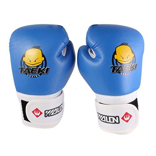 Kinder PU-Leder Kickbox MMA Muay Thai Boxsacktraining Lochen Boxhandschuhe Box Kamfsport Handschuhe - blau