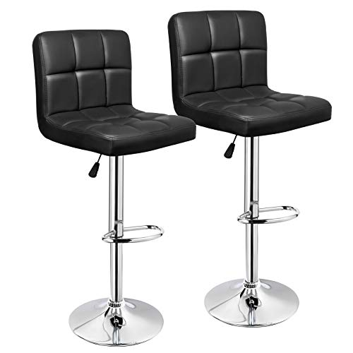 IntimaTe WM Heart Bar Stools, PU Leather Adjustable Swivel Bar Stools, with Back, Counter Height Stools, Set of 2, Black