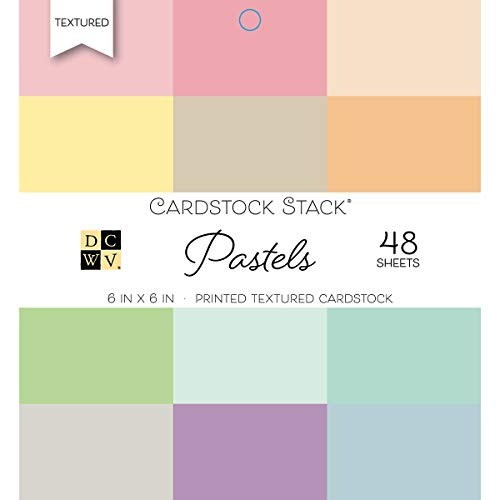 DCWV Card Stock 6x6 Pastels Printed Textured Stack, 48 Sheets