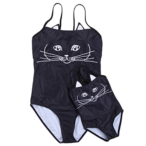 Multitrust Mother Daughter Matching One Piece Swimsuit Lovely Cat Ear Print Strap Bathing Suit (Black-Daughter, 3-4T)