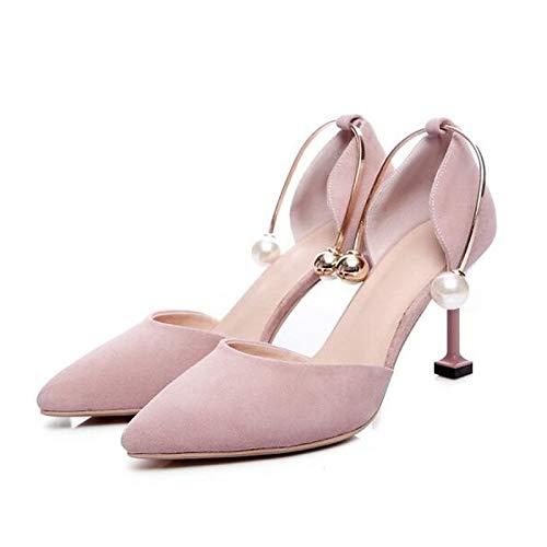 Summer Suede Mujer de Zapatos Pink Pink Heel Black ZHZNVX Heels Comfort Stiletto Almond wqIARw6t