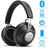 Wireless Bluetooth Headphones Over Ear - Hi-Fi Stereo Lightweight Wireless Headphones with Mic Deep Bass, Comfortable Protein Earpads, 30H Playtime for Travel/Work/Cell Phones - Black