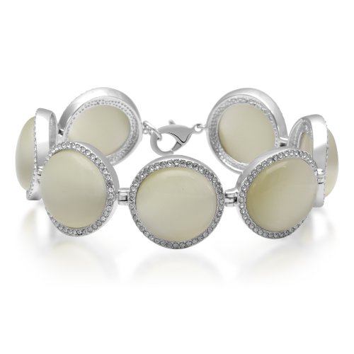 Jewelili Brass Cabochon Milky White Cat Eye And Clear Crystal Link - Eye Cat Milky
