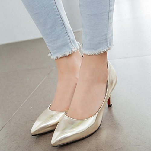 COOLCEPT Zapato Mujer Simple Tacon de Aguja Tacon medio Sin Cordones D'Orsay Court Zapatos Oro