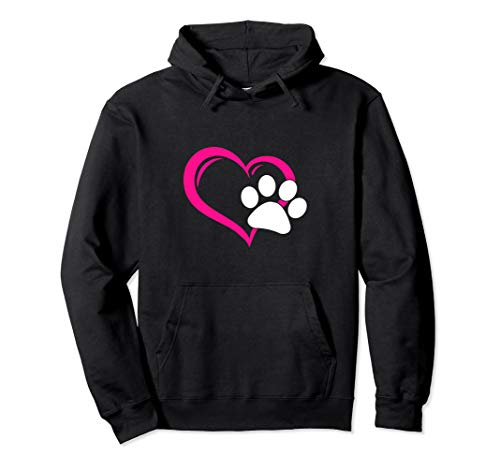 - Cute I Love My Dog Puppy Cat Paw Heart Pullover Hoodie