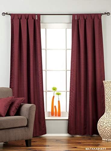 Indian Selections Lined-Dark Maroon Tab Top Matka Raw Silk Curtain Drape – 80W x 120L – Piece