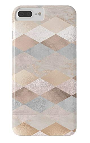 Roses Argyle (ZHDS Phonecase Copper and Blush Rose Gold Marble Argyle Slim Fit Case for iPhone 7Plus /8 Plus)