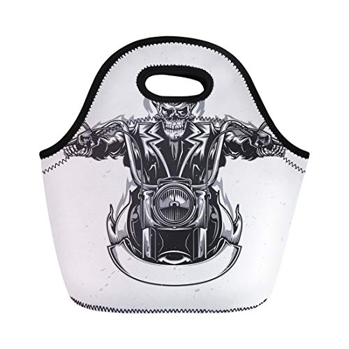 - Semtomn Lunch Tote Bag Biker Skeleton Riding Motorcycle Death Rider Crazy Man Road Reusable Neoprene Insulated Thermal Outdoor Picnic Lunchbox for Men Women