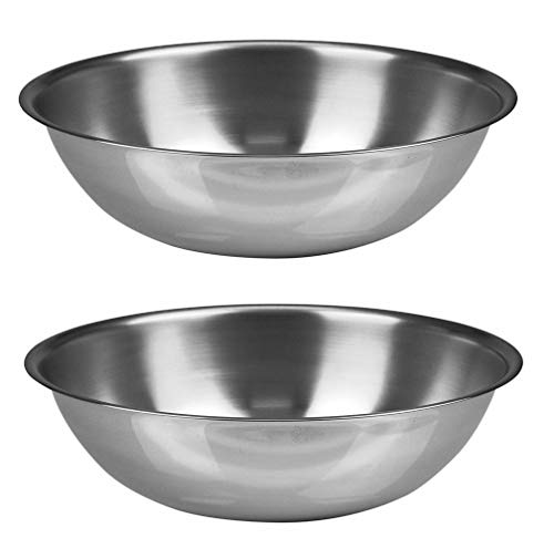 Mami-Team Mixing Bowl Stainless Steel Kitchen Cook Bakeware Food Fruit Salads marinating for the grill and adding last ingredients for dessert Serving 3 Sizes (Set 3. Size 9