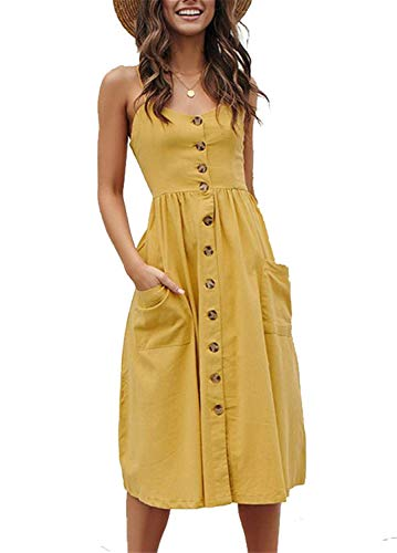 (Cotton Boho Dresses for Women Midi Button Down Vocation Stretchy Casual Dress Yellow S)