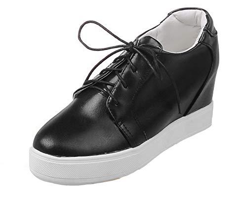 Couleur Chaussures Gmbdb013228 Cuir Agoolar Lacet Rond Unie Noir Talon Haut Pu Femme Légeres À nUSfwSF8Hq