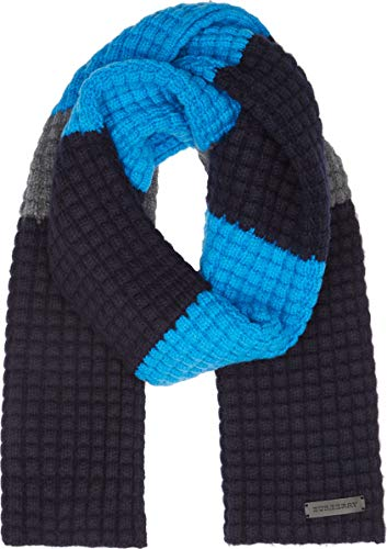 Burberry Wool Cashmere - Burberry Stripe Waffle Knit Wool Cashmere Blend Cerulean Blue/Navy Scarf