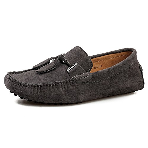 US11 Mens Boat Flats Stylish 2080 Shoes Tassel Grey Loafers rismart Comfort Driving Suede B8d7wBf6q