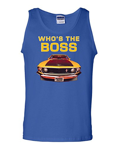 Who's The Boss? Tank Top Ford Mustang Boss 302 Classic Muscle Car Sleeveless Blue L