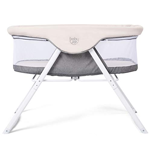BABY JOY Rocking Bassinet, 2 in 1 Lightweight Travel Cradle & Portable Crib for Newborn Baby, Detachable & Washable Mattress, Zippered Breathable Mesh Side, Oxford Carry Bag Included (Beige + Gray)